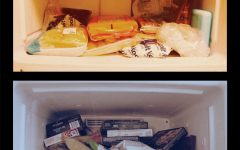 The refrigerator used to contain only a few frozen foods; now we store a lot of food and go grocery shopping less often.