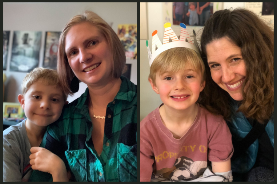 Heather Paul and her son, Joey.  Natalie Mayer and her son, Jonah.