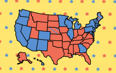 A colored-in electoral college map representing the results of the 2020 election