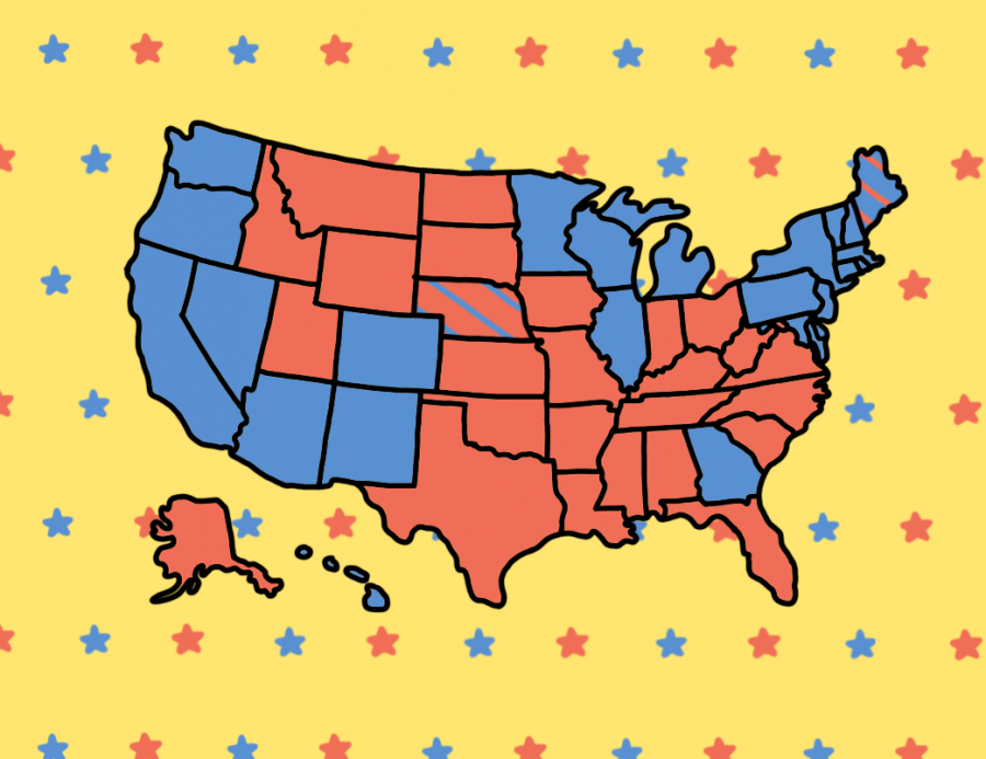 This illustration by photographer Annie Rupertus '21 represents the 2020 Presidential Election. The color-coded states show the Electoral College results. This image was made using Autodesk Sketchbook.