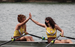 Madison Scheuer and Sophie Cucinotta High Five on the River.